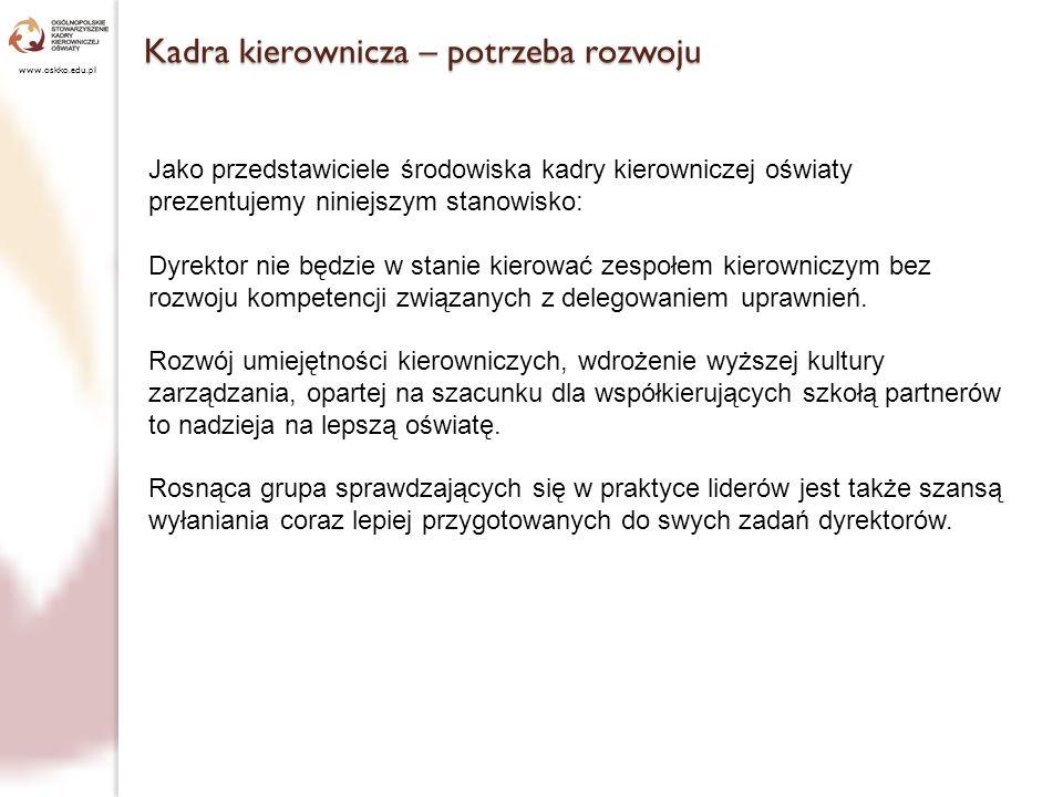 Niezbędne prace badawcze www.oskko.edu.pl Zwracamy ponadto uwagę na konieczność prowadzenia badań na temat realizacji ambicji kierowniczych nauczycieli, przywództwa w szkole, skuteczności środków motywujących do lepszej pracy.
