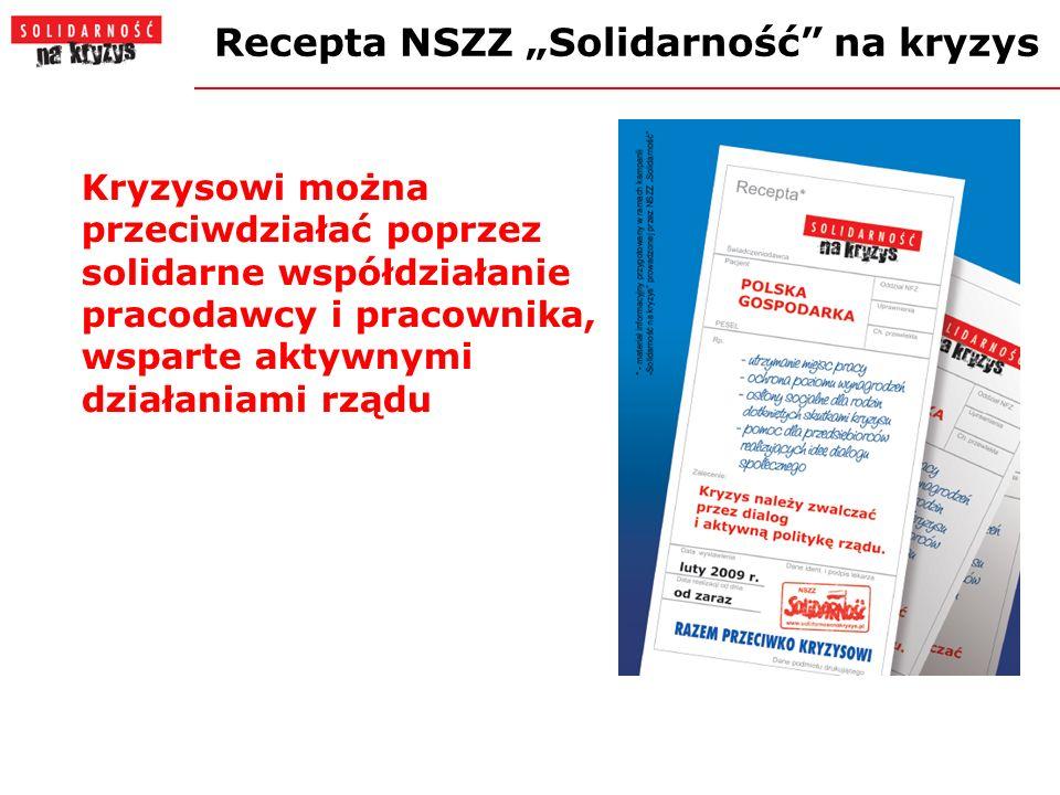 Recepta NSZZ Solidarność na kryzys Kryzysowi można przeciwdziałać poprzez solidarne współdziałanie pracodawcy i pracownika, wsparte aktywnymi działaniami rządu
