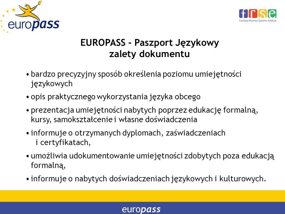 europass EUROPASS - Paszport Językowy zalety dokumentu bardzo precyzyjny sposób określenia poziomu umiejętności językowych opis praktycznego wykorzyst