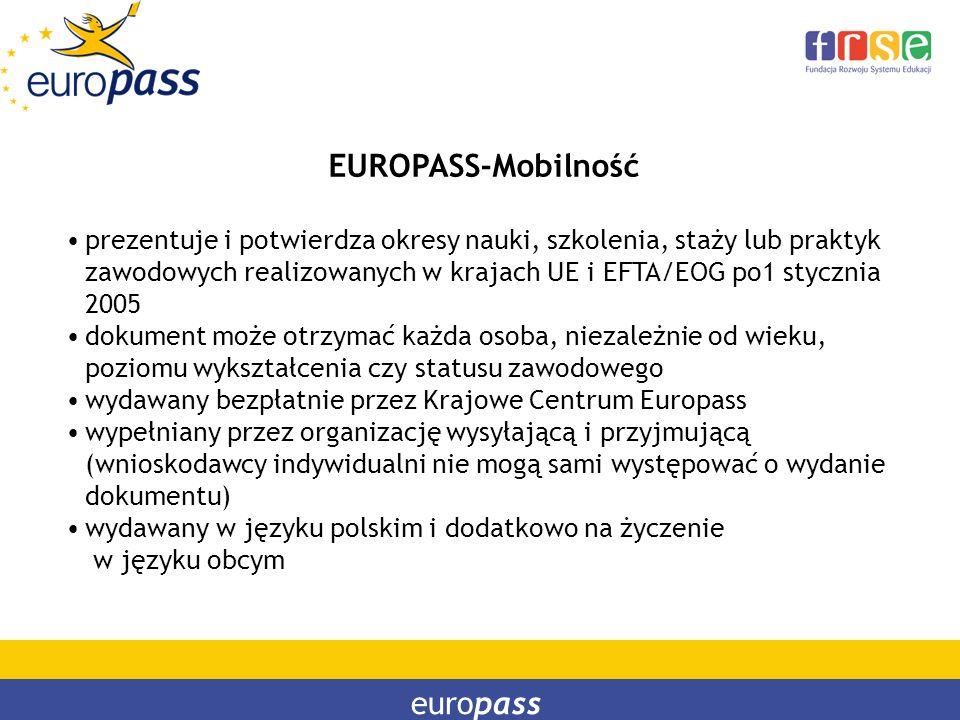 europass EUROPASS-Mobilność prezentuje i potwierdza okresy nauki, szkolenia, staży lub praktyk zawodowych realizowanych w krajach UE i EFTA/EOG po1 st