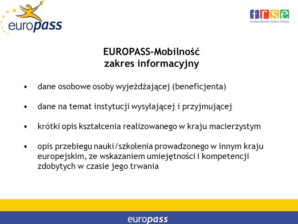 europass EUROPASS-Mobilność zakres informacyjny dane osobowe osoby wyjeżdżającej (beneficjenta) dane na temat instytucji wysyłającej i przyjmującej kr