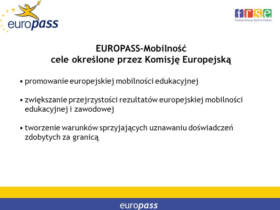 europass EUROPASS-Mobilność cele określone przez Komisję Europejską promowanie europejskiej mobilności edukacyjnej zwiększanie przejrzystości rezultat