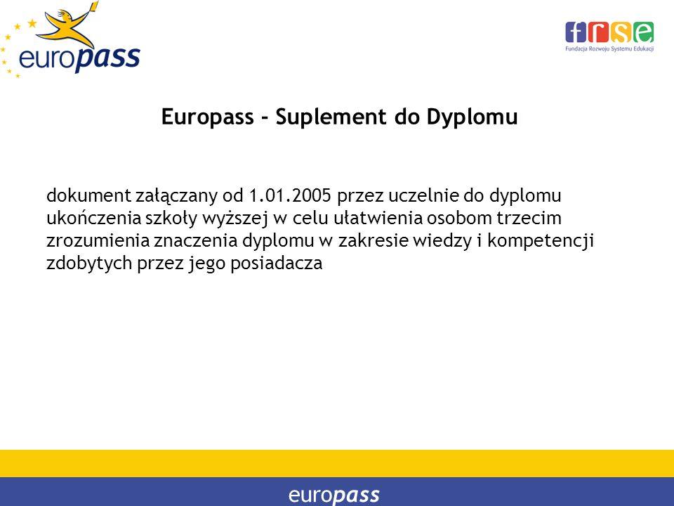 europass Europass - Suplement do Dyplomu dokument załączany od 1.01.2005 przez uczelnie do dyplomu ukończenia szkoły wyższej w celu ułatwienia osobom