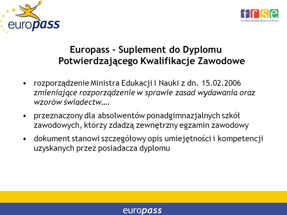 europass Europass - Suplement do Dyplomu Potwierdzającego Kwalifikacje Zawodowe rozporządzenie Ministra Edukacji i Nauki z dn. 15.02.2006 zmieniające