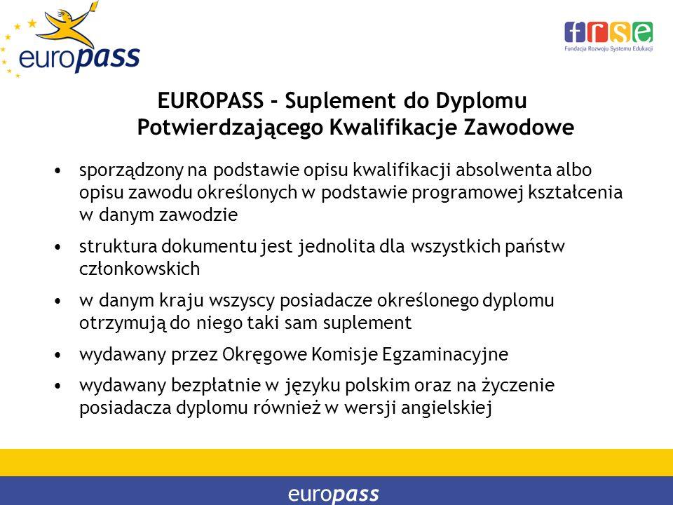 europass EUROPASS - Suplement do Dyplomu Potwierdzającego Kwalifikacje Zawodowe sporządzony na podstawie opisu kwalifikacji absolwenta albo opisu zawo