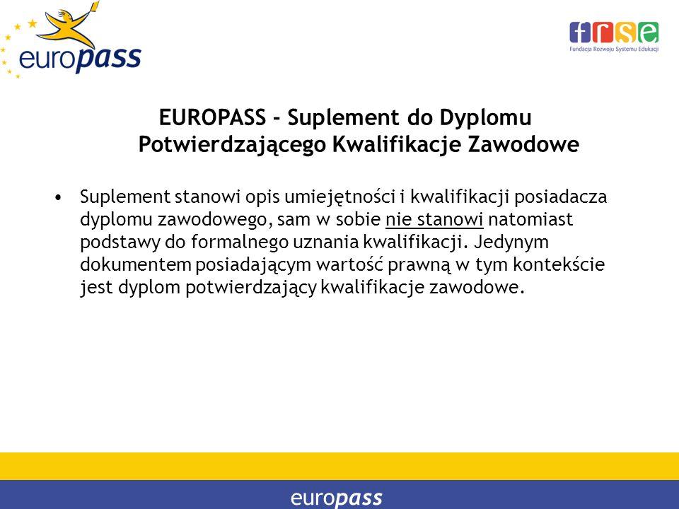 europass EUROPASS - Suplement do Dyplomu Potwierdzającego Kwalifikacje Zawodowe Suplement stanowi opis umiejętności i kwalifikacji posiadacza dyplomu