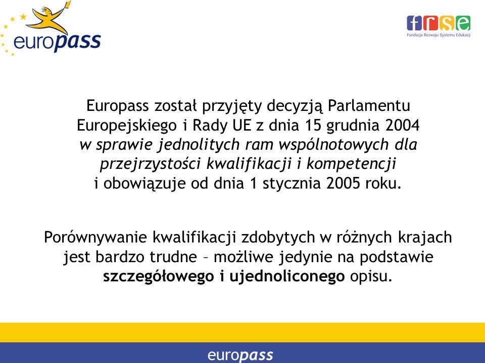 Europass został przyjęty decyzją Parlamentu Europejskiego i Rady UE z dnia 15 grudnia 2004 w sprawie jednolitych ram wspólnotowych dla przejrzystości
