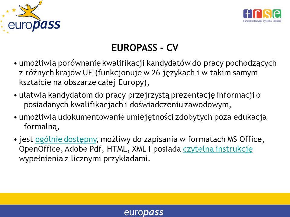 europass EUROPASS - CV umożliwia porównanie kwalifikacji kandydatów do pracy pochodzących z różnych krajów UE (funkcjonuje w 26 językach i w takim sam