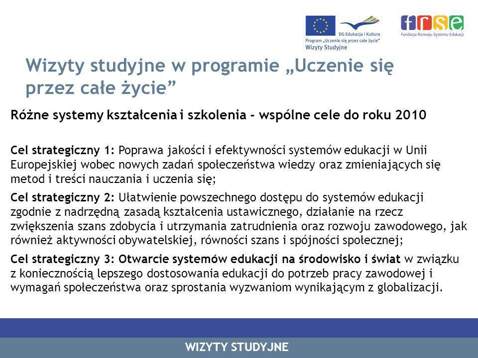 Wizyty studyjne w programie Uczenie się przez całe życie Różne systemy kształcenia i szkolenia - wspólne cele do roku 2010 Cel strategiczny 1: Poprawa jakości i efektywności systemów edukacji w Unii Europejskiej wobec nowych zadań społeczeństwa wiedzy oraz zmieniających się metod i treści nauczania i uczenia się; Cel strategiczny 2: Ułatwienie powszechnego dostępu do systemów edukacji zgodnie z nadrzędną zasadą kształcenia ustawicznego, działanie na rzecz zwiększenia szans zdobycia i utrzymania zatrudnienia oraz rozwoju zawodowego, jak również aktywności obywatelskiej, równości szans i spójności społecznej; Cel strategiczny 3: Otwarcie systemów edukacji na środowisko i świat w związku z koniecznością lepszego dostosowania edukacji do potrzeb pracy zawodowej i wymagań społeczeństwa oraz sprostania wyzwaniom wynikającym z globalizacji.