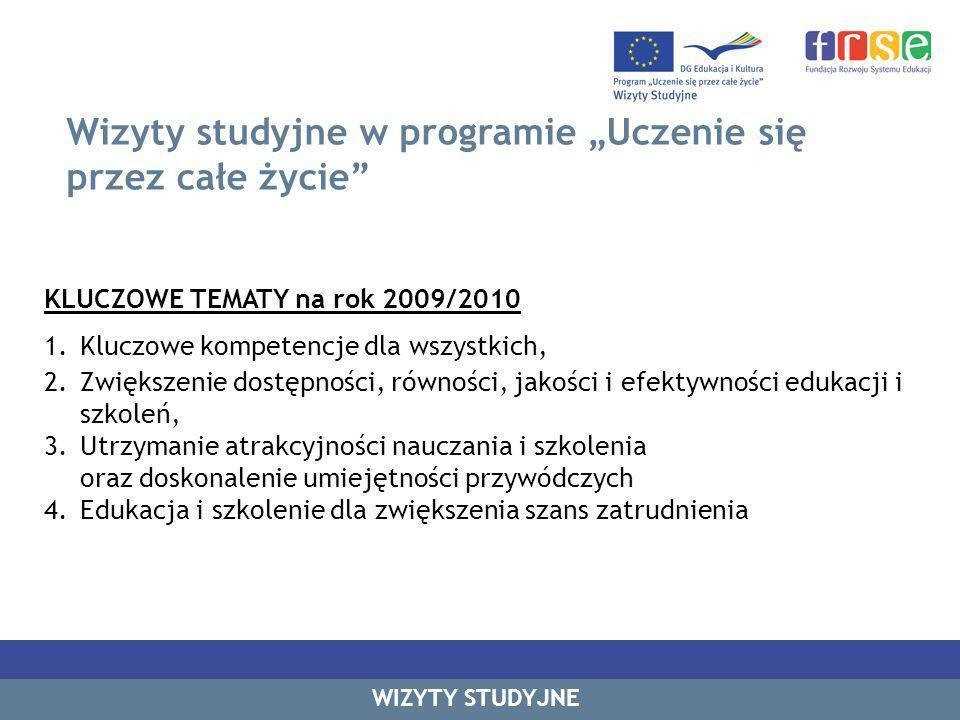 Wizyty studyjne w programie Uczenie się przez całe życie KLUCZOWE TEMATY na rok 2009/2010 1.Kluczowe kompetencje dla wszystkich, 2.Zwiększenie dostępności, równości, jakości i efektywności edukacji i szkoleń, 3.Utrzymanie atrakcyjności nauczania i szkolenia oraz doskonalenie umiejętności przywódczych 4.Edukacja i szkolenie dla zwiększenia szans zatrudnienia WIZYTY STUDYJNE