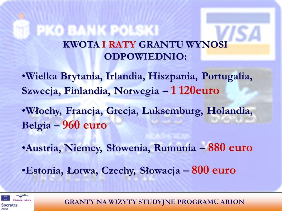 KWOTA I RATY GRANTU WYNOSI ODPOWIEDNIO: Wielka Brytania, Irlandia, Hiszpania, Portugalia, Szwecja, Finlandia, Norwegia – 1 120euro Włochy, Francja, Grecja, Luksemburg, Holandia, Belgia – 960 euro Austria, Niemcy, Słowenia, Rumunia – 880 euro Estonia, Łotwa, Czechy, Słowacja – 800 euro