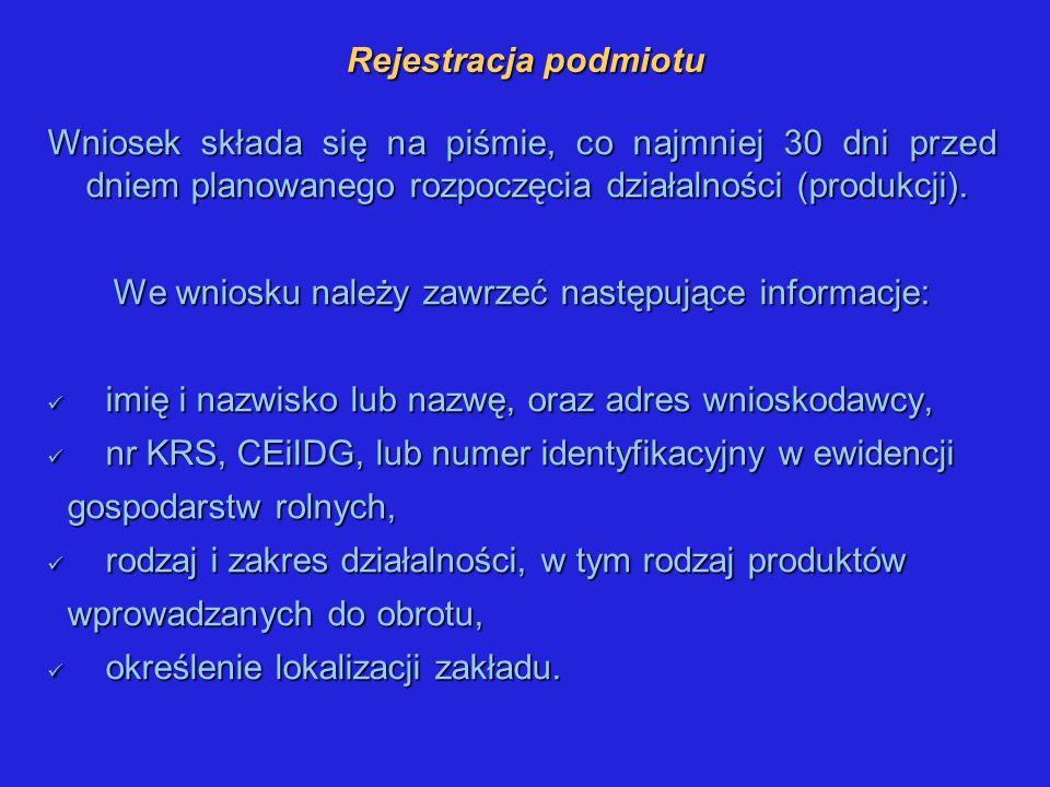 Rejestracja podmiotu Wniosek składa się na piśmie, co najmniej 30 dni przed dniem planowanego rozpoczęcia działalności (produkcji). We wniosku należy