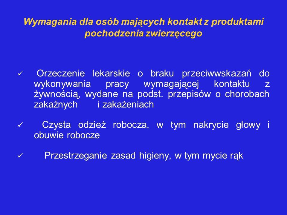 Wymagania dla osób mających kontakt z produktami pochodzenia zwierzęcego Orzeczenie lekarskie o braku przeciwwskazań do wykonywania pracy wymagającej