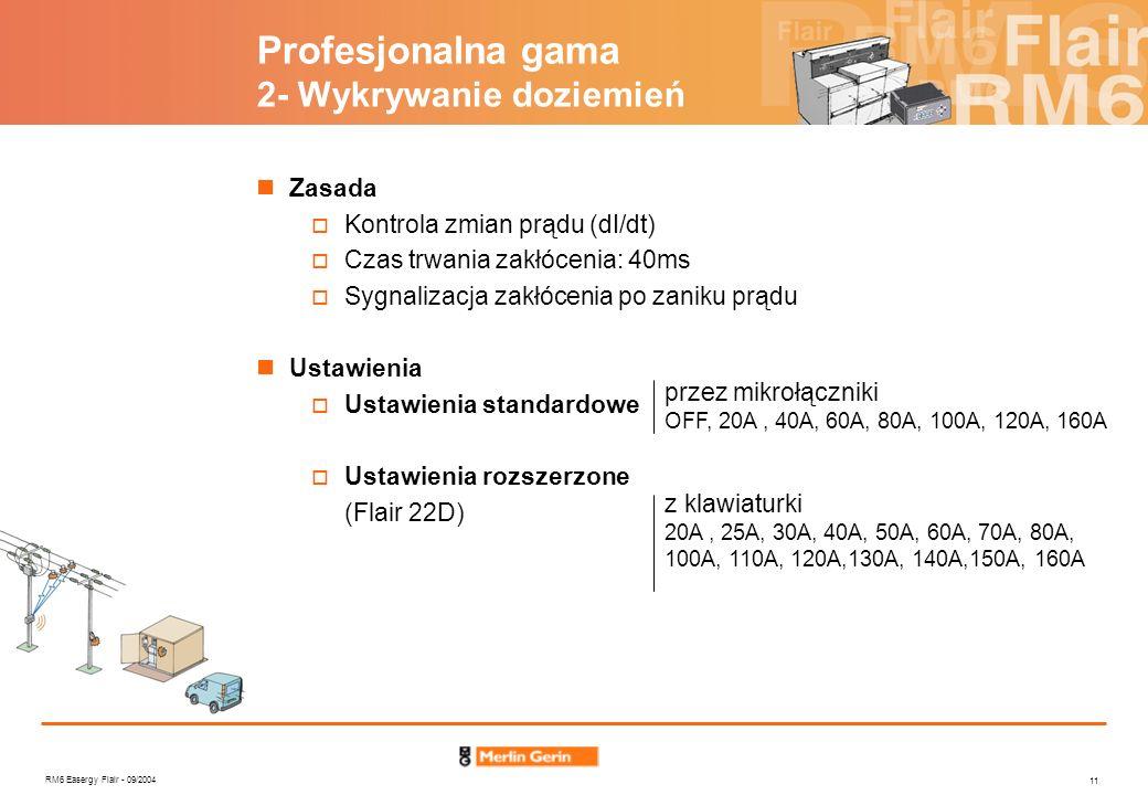 RM6 Easergy Flair - 09/2004 11 Profesjonalna gama 2- Wykrywanie doziemień Zasada Kontrola zmian prądu (dI/dt) Czas trwania zakłócenia: 40ms Sygnalizac