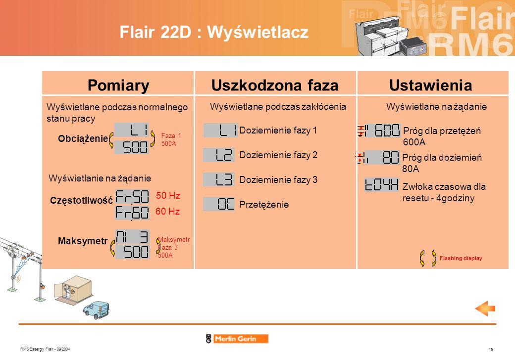 RM6 Easergy Flair - 09/2004 19 Flair 22D : Wyświetlacz PomiaryUszkodzona fazaUstawienia Wyświetlane podczas zakłóceniaWyświetlane na żądanie Doziemien