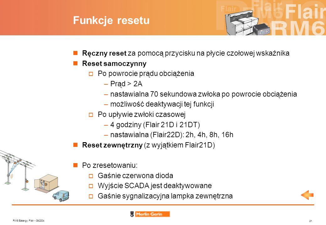 RM6 Easergy Flair - 09/2004 21 Funkcje resetu Ręczny reset za pomocą przycisku na płycie czołowej wskaźnika Reset samoczynny Po powrocie prądu obciąże