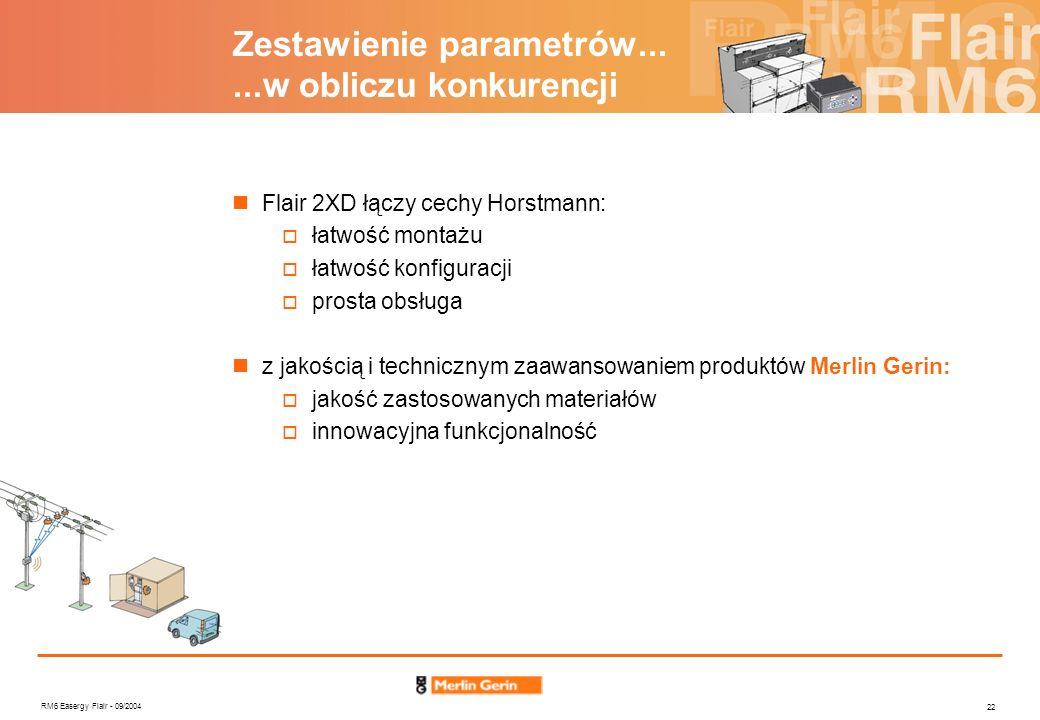 RM6 Easergy Flair - 09/2004 22 Zestawienie parametrów......w obliczu konkurencji Flair 2XD łączy cechy Horstmann: łatwość montażu łatwość konfiguracji