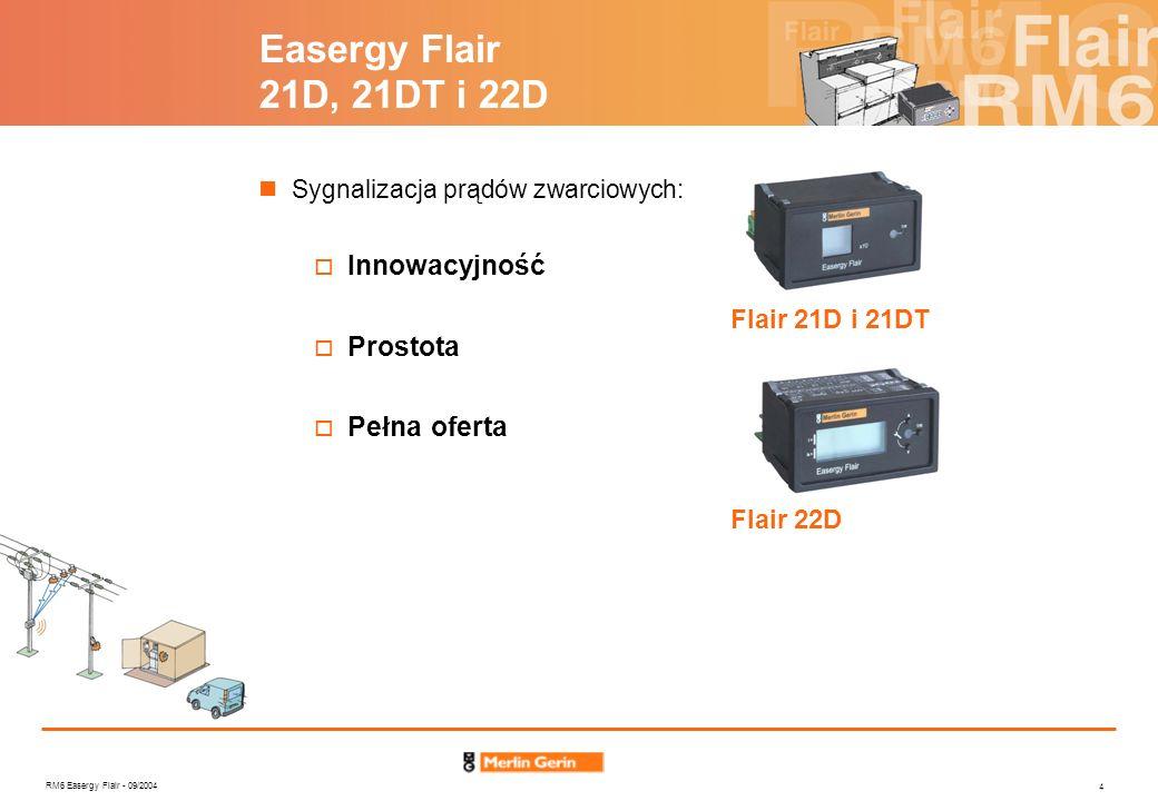 RM6 Easergy Flair - 09/2004 4 Flair 22D Flair 21D i 21DT Easergy Flair 21D, 21DT i 22D Sygnalizacja prądów zwarciowych: Innowacyjność Prostota Pełna o