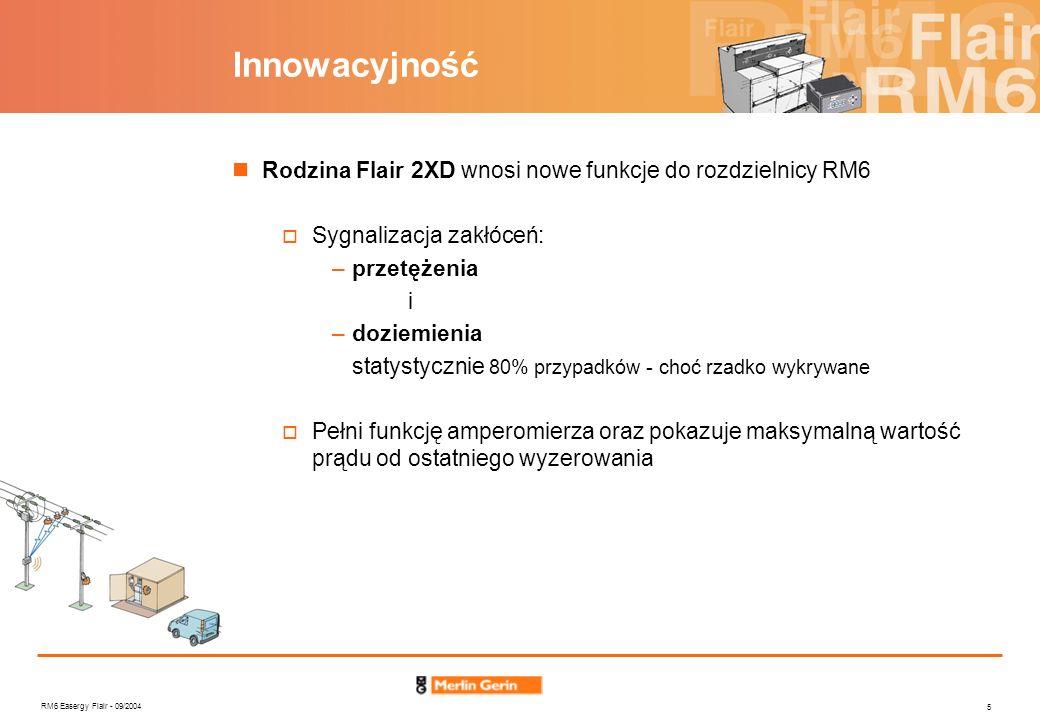 RM6 Easergy Flair - 09/2004 5 Innowacyjność Rodzina Flair 2XD wnosi nowe funkcje do rozdzielnicy RM6 Sygnalizacja zakłóceń: –przetężenia i –doziemieni