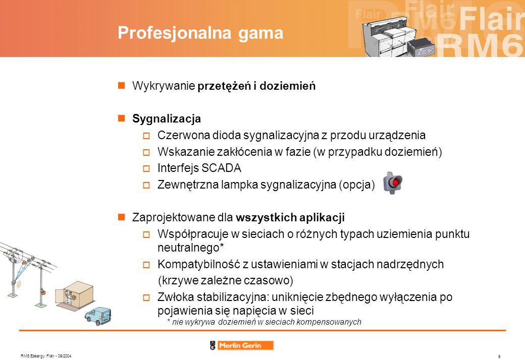 RM6 Easergy Flair - 09/2004 10 Profesjonalna gama 1- Wykrywanie przetężeń Zasada Czas pomiaru : 40ms Sygnalizacja zakłócenia po zaniku prądu Ustawienia detekcji Ustawienia standardowe Ustawienia rozszerzone (Flair 22D) przez mikrołączniki 200A, 400A, 600A, 800A z klawiaturki 100A, 200A, 300A, 400A, 500A, 600A, 700A, 800A