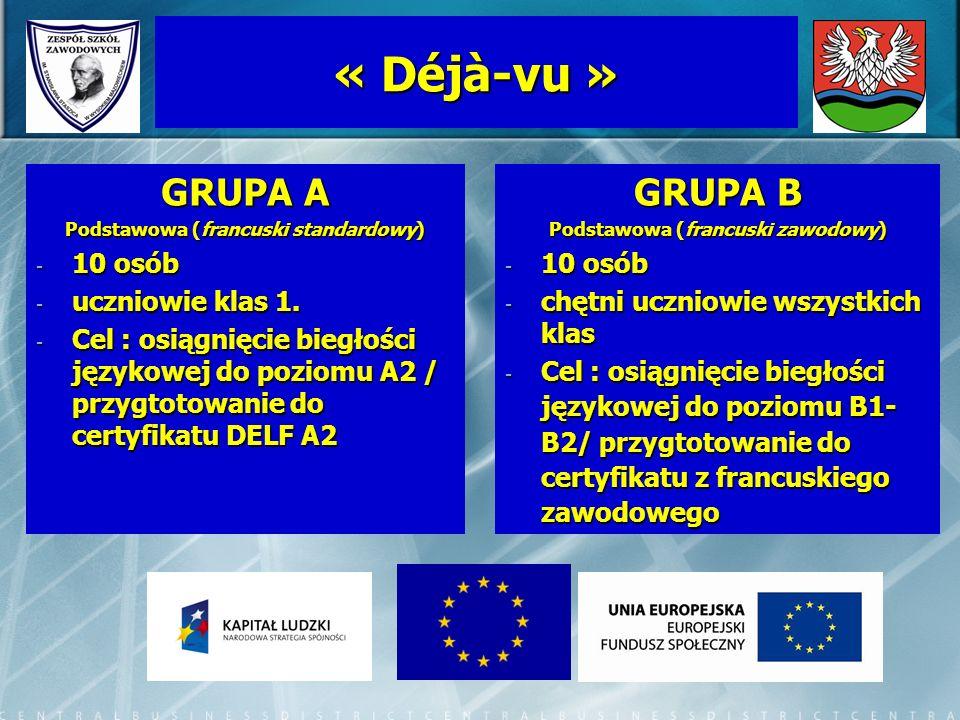« Déjà-vu » GRUPA A Podstawowa (francuski standardowy) - 10 osób - uczniowie klas 1. - Cel : osiągnięcie biegłości językowej do poziomu A2 / przygtoto
