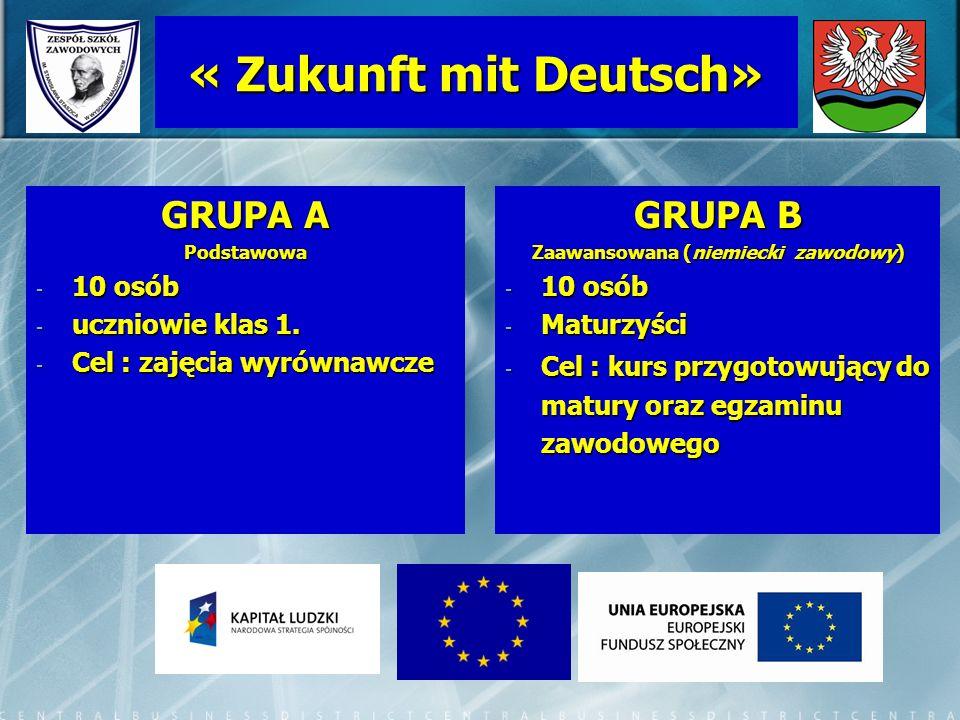 « Zukunft mit Deutsch» GRUPA A Podstawowa - 10 osób - uczniowie klas 1. - Cel : zajęcia wyrównawcze GRUPA B Zaawansowana (niemiecki zawodowy) - 10 osó
