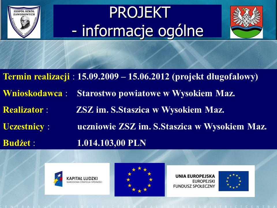 PROJEKT - informacje ogólne PROJEKT - informacje ogólne Termin realizacji : 15.09.2009 – 15.06.2012 (projekt długofalowy) Wnioskodawca : Starostwo pow