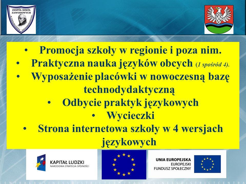 Promocja szkoły w regionie i poza nim. Praktyczna nauka języków obcych (1 spośród 4). Wyposażenie placówki w nowoczesną bazę technodydaktyczną Odbycie