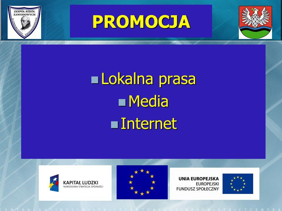 PROMOCJA Lokalna prasa Lokalna prasa Media Media Internet Internet