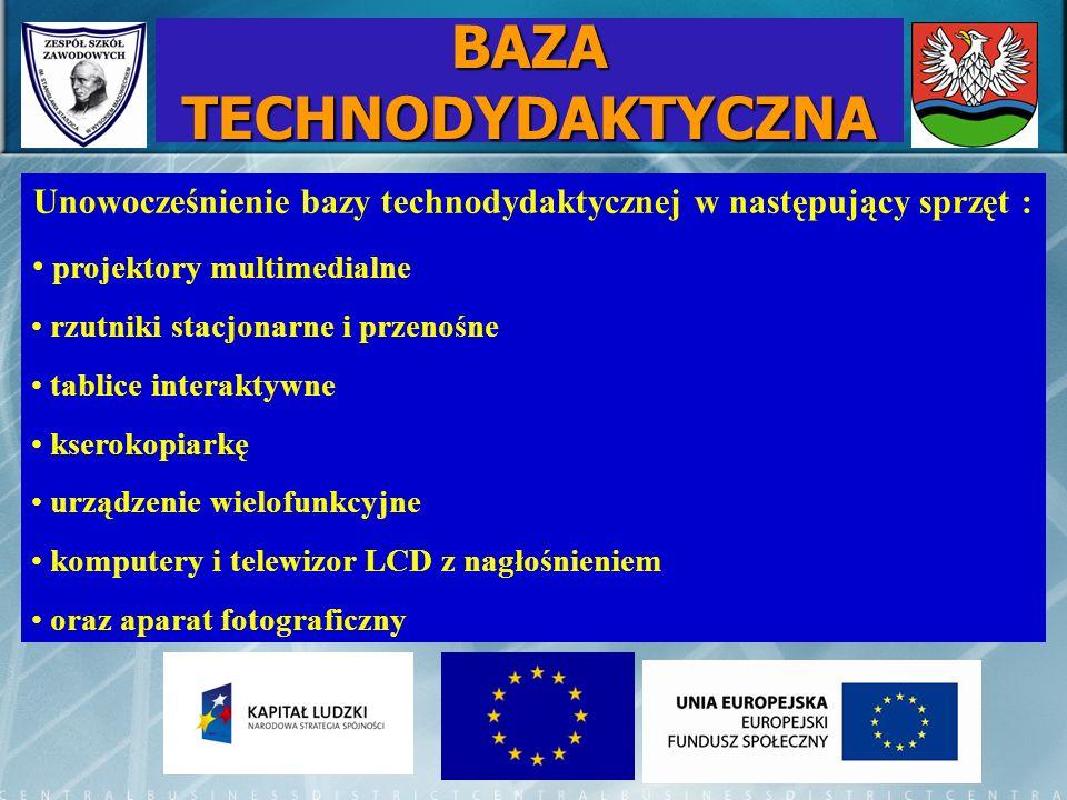 BAZA TECHNODYDAKTYCZNA Unowocześnienie bazy technodydaktycznej w następujący sprzęt : projektory multimedialne rzutniki stacjonarne i przenośne tablic