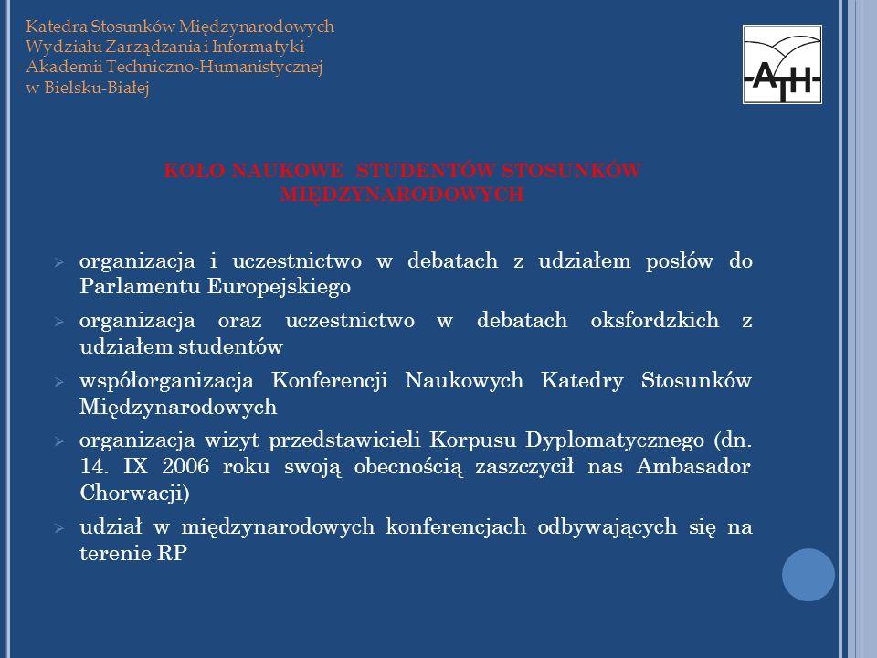 KOŁO NAUKOWE STUDENTÓW STOSUNKÓW MIĘDZYNARODOWYCH organizacja i uczestnictwo w debatach z udziałem posłów do Parlamentu Europejskiego organizacja oraz