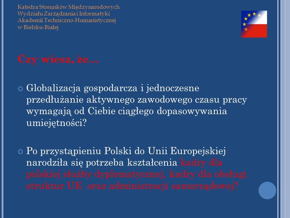 Katedra Stosunków Międzynarodowych Wydziału Zarządzania i Informatyki Akademii Techniczno-Humanistycznej w Bielsku-Białej Czy wiesz, że… Globalizacja