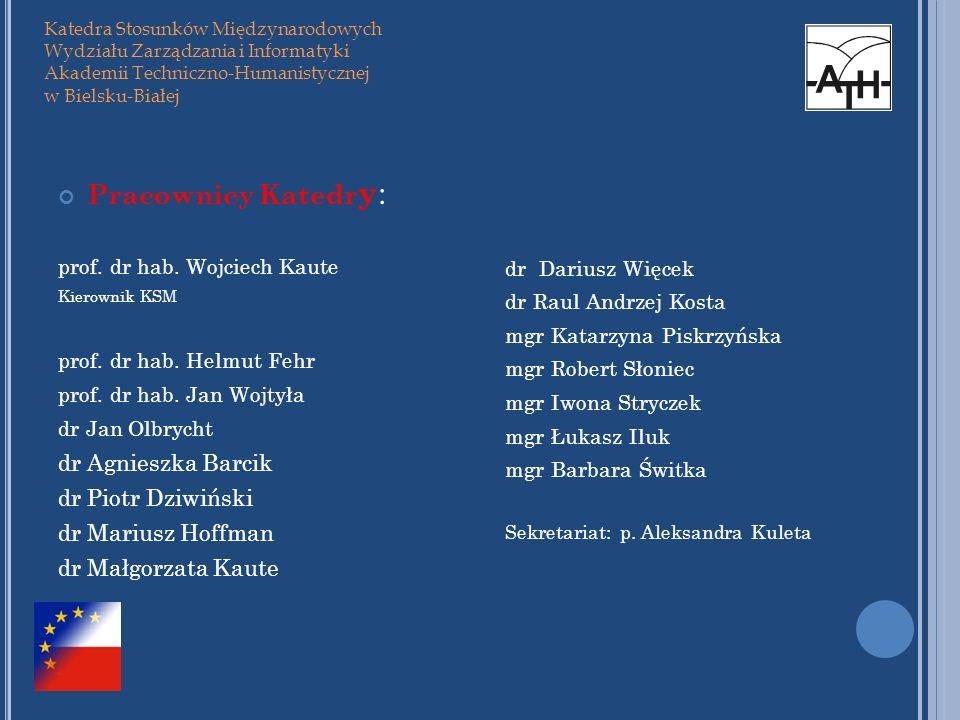 Pracownicy Katedr y : prof. dr hab. Wojciech Kaute Kierownik KSM prof. dr hab. Helmut Fehr prof. dr hab. Jan Wojtyła dr Jan Olbrycht dr Agnieszka Barc