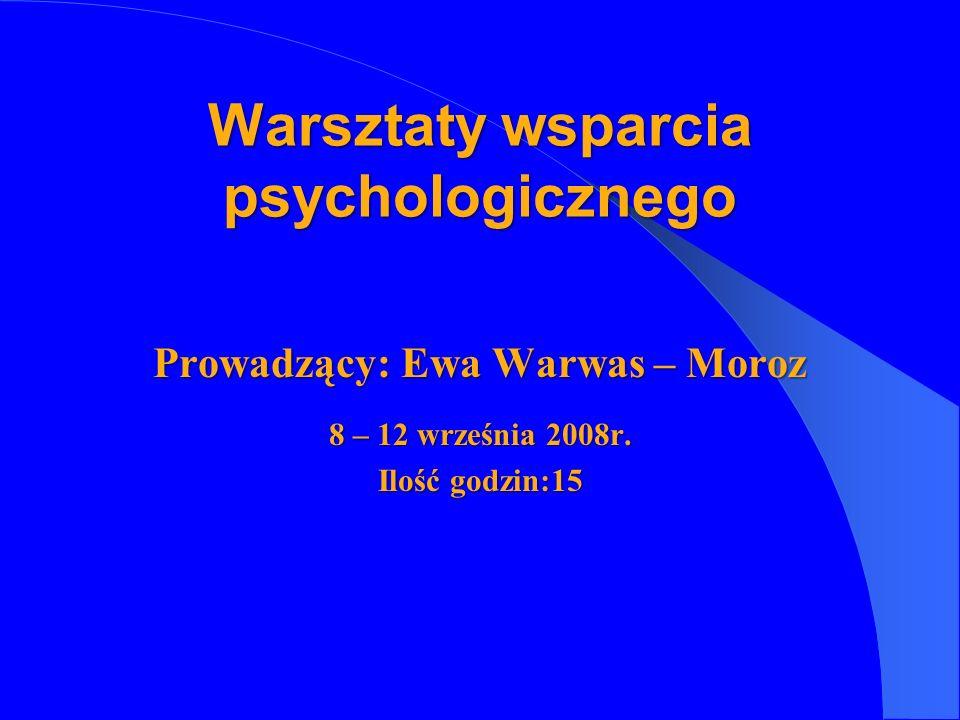 Prowadzący: Ewa Warwas – Moroz 8 – 12 września 2008r. Ilość godzin:15 Warsztaty wsparcia psychologicznego