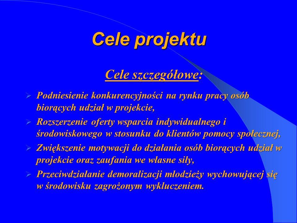 Cele projektu Cele szczegółowe: Podniesienie konkurencyjności na rynku pracy osób biorących udział w projekcie, Podniesienie konkurencyjności na rynku
