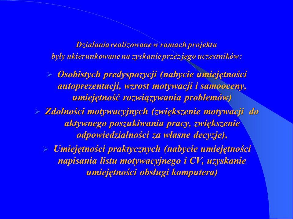 Działania realizowane w ramach projektu były ukierunkowane na zyskanie przez jego uczestników: Osobistych predyspozycji (nabycie umiejętności autoprez