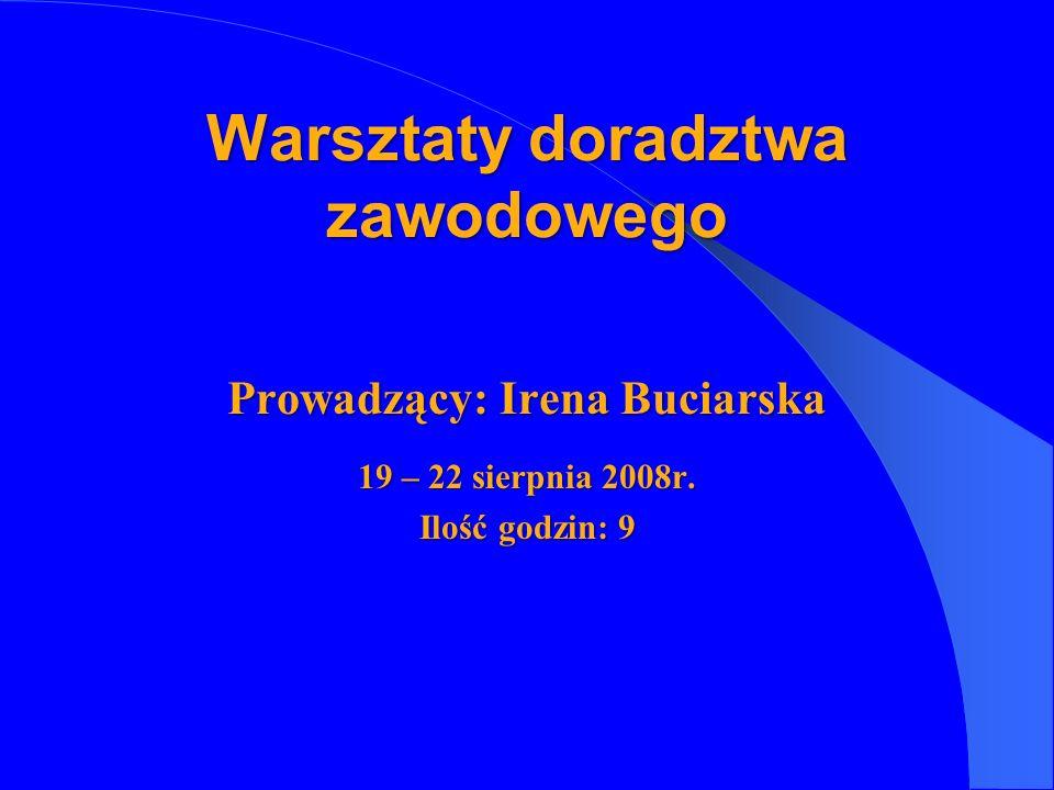 Prowadzący: Irena Buciarska 19 – 22 sierpnia 2008r. Ilość godzin: 9 Warsztaty doradztwa zawodowego