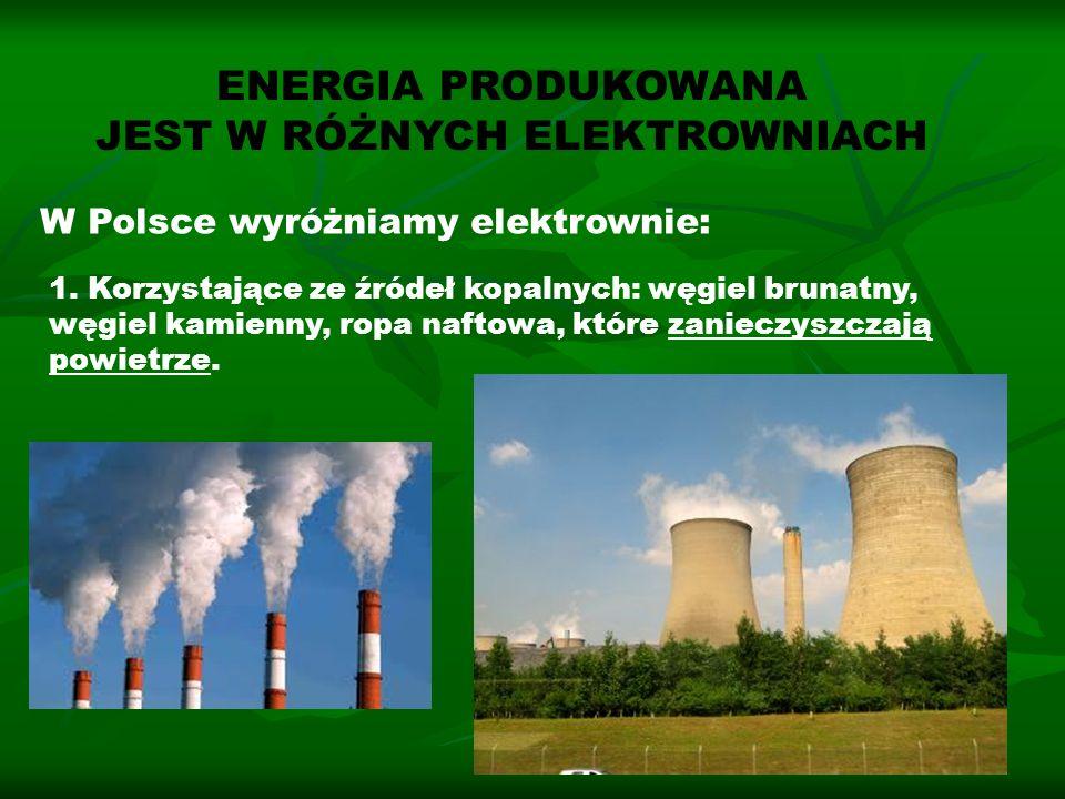ENERGIA PRODUKOWANA JEST W RÓŻNYCH ELEKTROWNIACH W Polsce wyróżniamy elektrownie: 1. Korzystające ze źródeł kopalnych: węgiel brunatny, węgiel kamienn