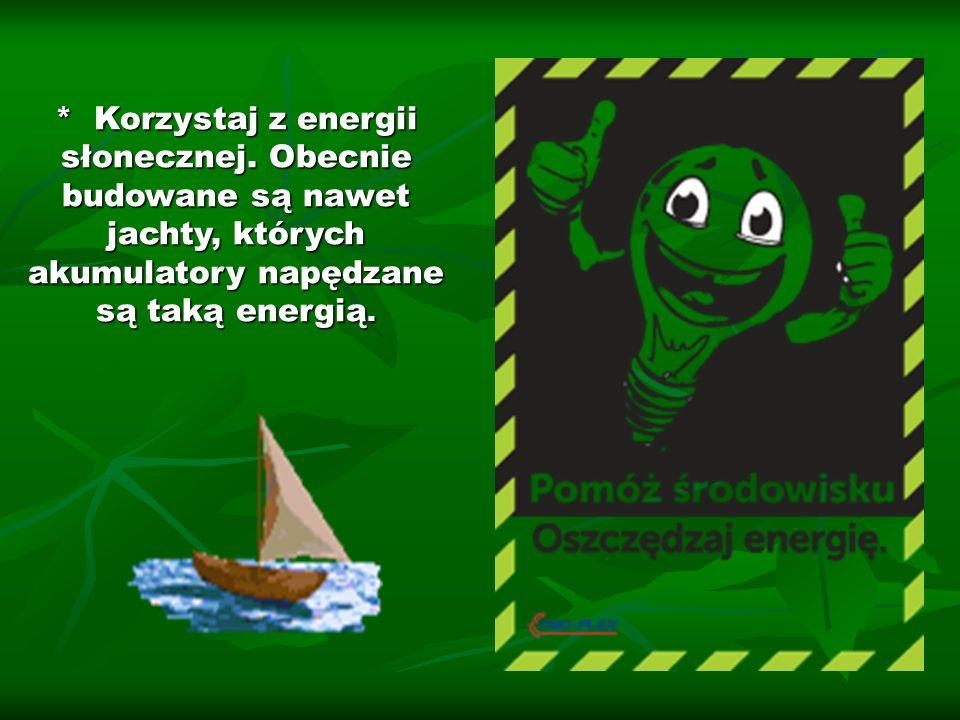 * Korzystaj z energii słonecznej. Obecnie budowane są nawet jachty, których akumulatory napędzane są taką energią.