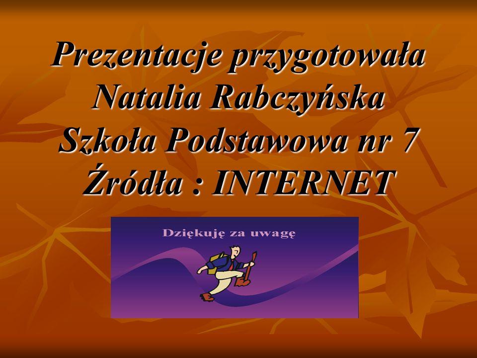 Prezentacje przygotowała Natalia Rabczyńska Szkoła Podstawowa nr 7 Źródła : INTERNET