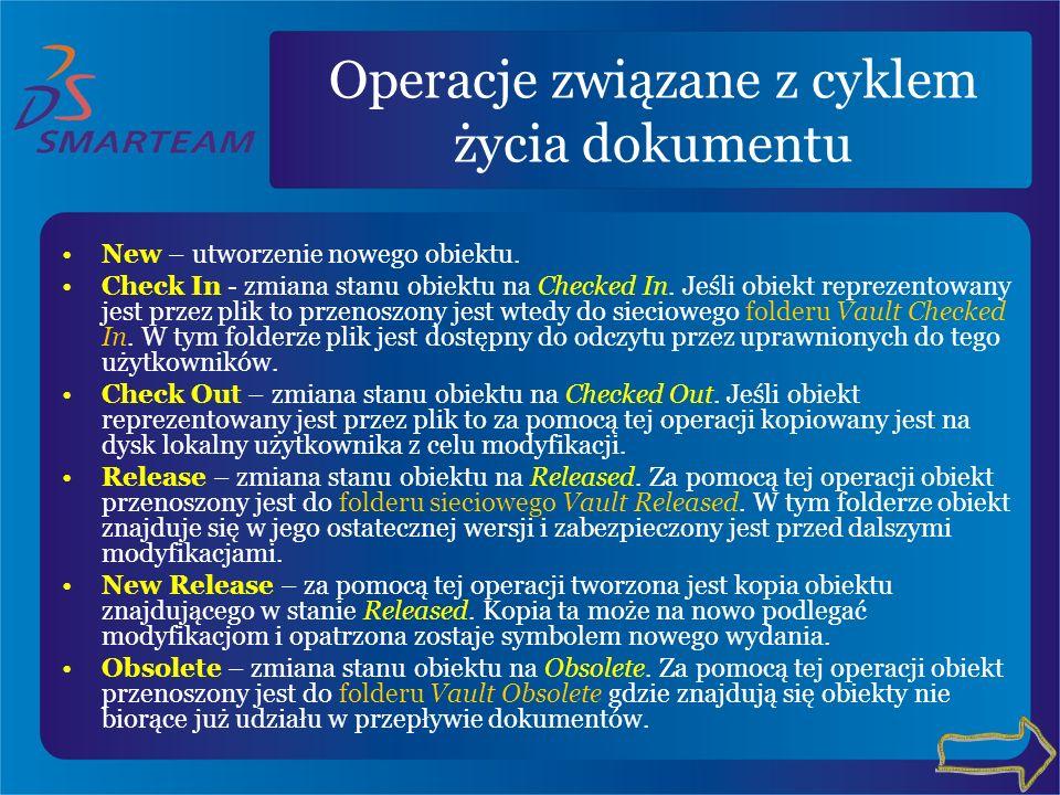 Operacje związane z cyklem życia dokumentu New – utworzenie nowego obiektu. Check In - zmiana stanu obiektu na Checked In. Jeśli obiekt reprezentowany