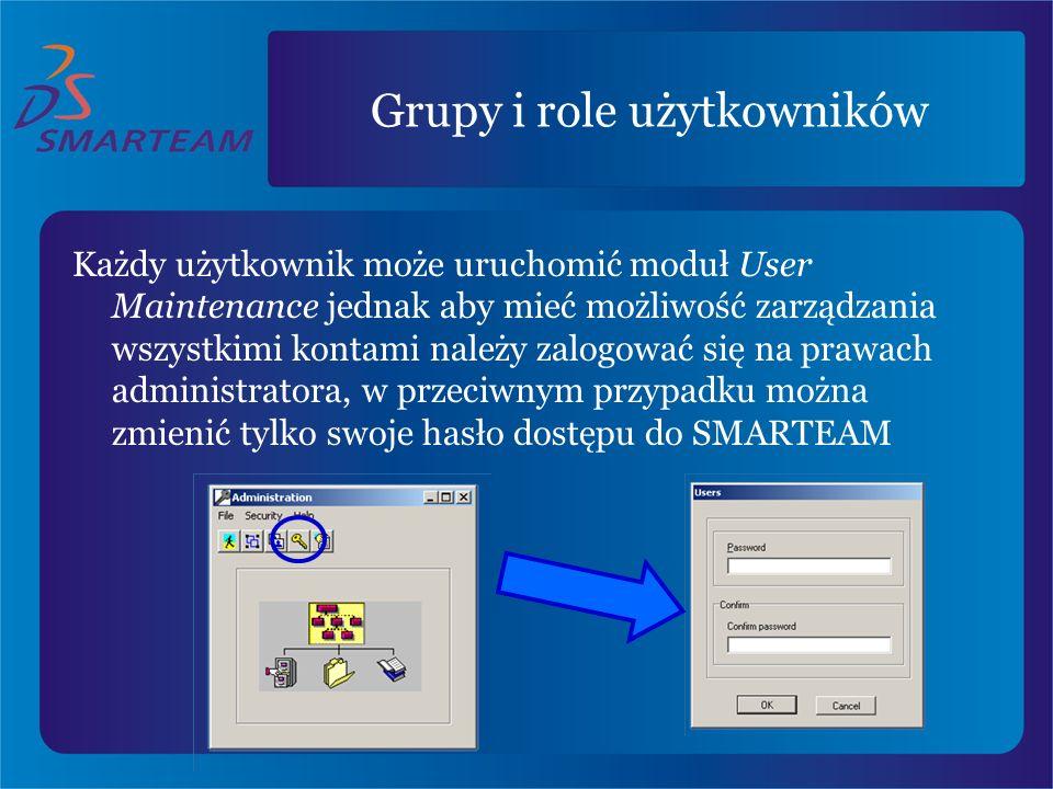 Grupy i role użytkowników Każdy użytkownik może uruchomić moduł User Maintenance jednak aby mieć możliwość zarządzania wszystkimi kontami należy zalog
