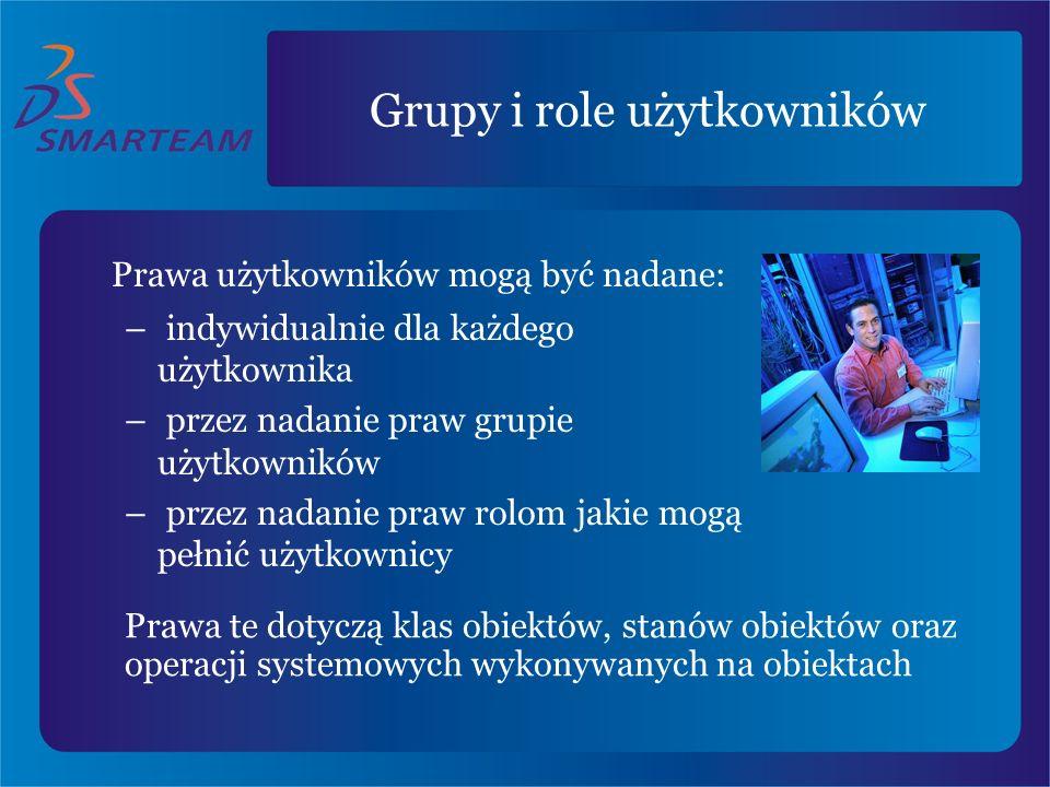 Grupy i role użytkowników Prawa użytkowników mogą być nadane: – indywidualnie dla każdego użytkownika – przez nadanie praw grupie użytkowników – przez