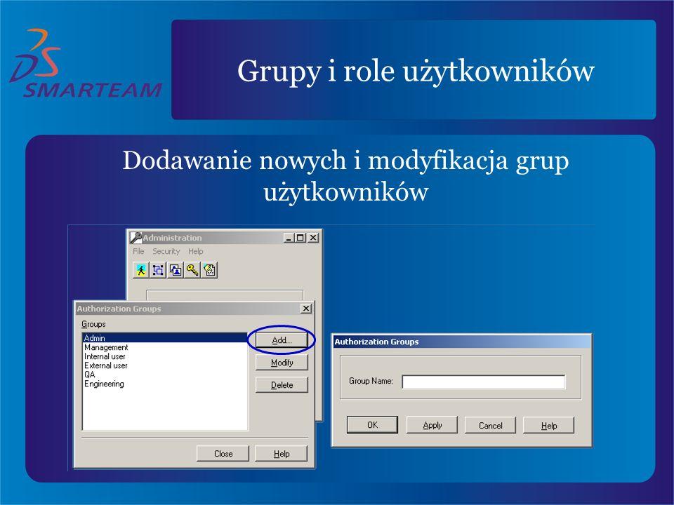Grupy i role użytkowników Dodawanie nowych i modyfikacja grup użytkowników