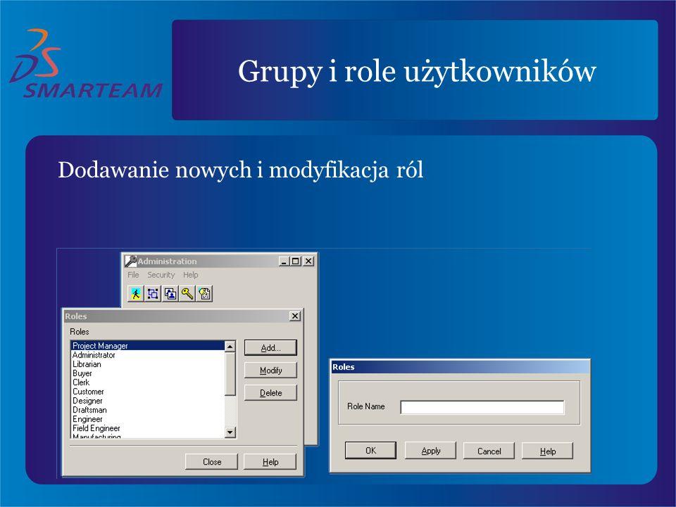 Grupy i role użytkowników Dodawanie nowych i modyfikacja ról