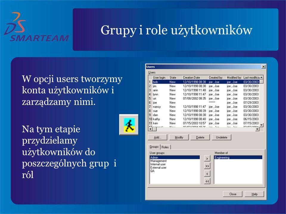 Grupy i role użytkowników W opcji users tworzymy konta użytkowników i zarządzamy nimi. Na tym etapie przydzielamy użytkowników do poszczególnych grup