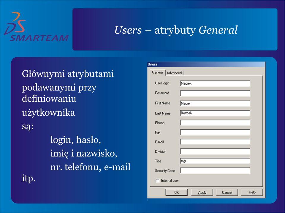 Users – atrybuty General Głównymi atrybutami podawanymi przy definiowaniu użytkownika są: login, hasło, imię i nazwisko, nr. telefonu, e-mail itp.