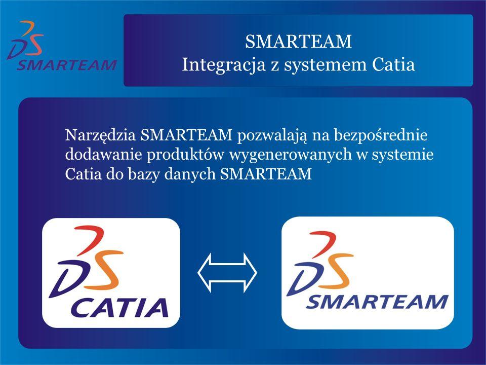 SMARTEAM Integracja z systemem Catia Narzędzia SMARTEAM pozwalają na bezpośrednie dodawanie produktów wygenerowanych w systemie Catia do bazy danych S