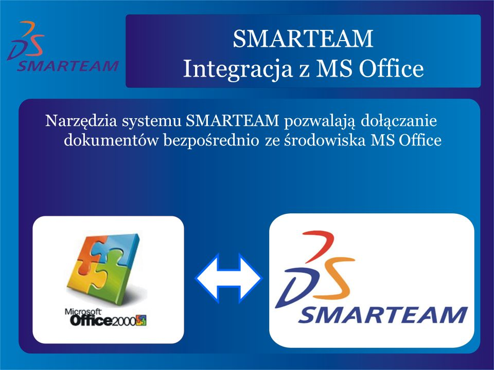 SMARTEAM Integracja z MS Office Narzędzia systemu SMARTEAM pozwalają dołączanie dokumentów bezpośrednio ze środowiska MS Office