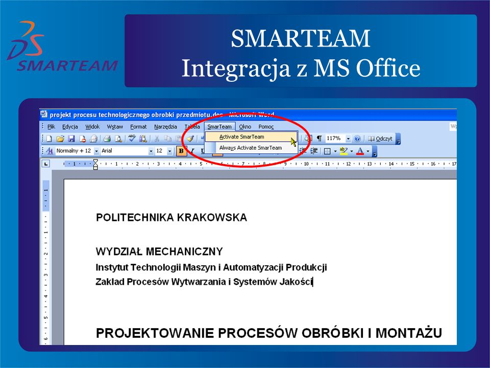 SMARTEAM Integracja z MS Office